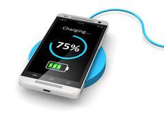 Wireless charging of smartphone - stock illustration