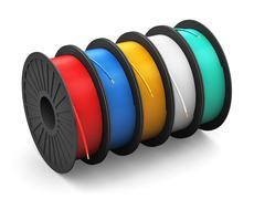 Spools with color electric power cables - stock illustration