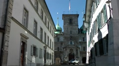 Europe Switzerland city of Solothurn 029 city gate with driving cars Stock Footage