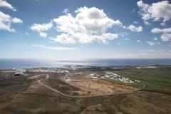 Lanzarote - Arial view of Costa Teguise - stock photo