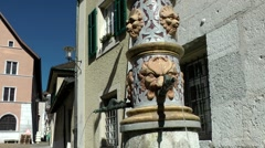 Europe Switzerland city of Solothurn 033 fountain with gargoyle Stock Footage