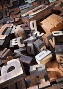 vintage letterpress printing blocks - stock photo