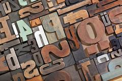vintage letterpress type background - stock photo