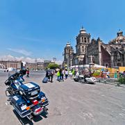 Mexico city, mexico - april 29, 2014: police motorbike and people in plaza de Stock Photos
