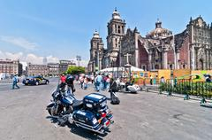 Police motorbike and people in in mexico city downtown Stock Photos