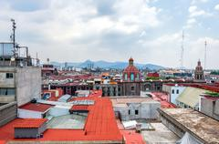 Zocalo downtown with cathedral belfries in mexico city Stock Photos