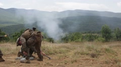 Live firing of a mortar Stock Footage