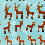 Deer. Set of funny animals seamless pattern on a blue background. vector Piirros