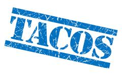 tacos blue square grunge textured isolated stamp - stock illustration