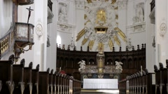 Europe Switzerland city of Solothurn 042 inside the nave of St. Ursus Cathedral Stock Footage