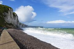 cliffs of the alabaster coast at fecamp - stock photo