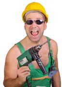 cheerful serviceman with hand Drill - stock photo