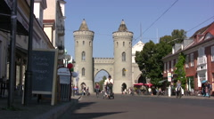 Potsdam old town with view of castle gate entrance Stock Footage