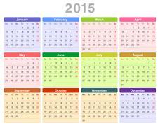 2015 year annual calendar (Monday first, English) Stock Illustration