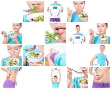 Diet and sport collage Stock Photos