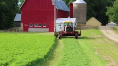 Harvest Combine Cutting Alfalfa Hay Stock Footage