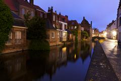 bruges, canal at blue hour - stock photo