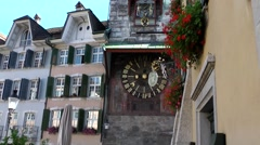 Europe Switzerland city of Solothurn 049 landmark 24 hours clock in tower Stock Footage