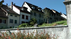 Europe Switzerland city of Solothurn 046 street of houses behind old city wall Stock Footage