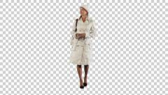 Girl in white walk on the camera (on alpha matte) Stock Footage