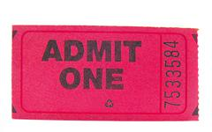 pink ticket stub, closeup isolated on white - stock photo