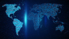 Scan pixelated world map loop background Stock Footage