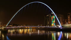 Timelapse of Gateshead Millennium Bridge Lights Stock Footage
