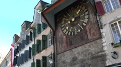 Europe Switzerland city of Solothurn 051 landmark 24 hours clock in tower Stock Footage