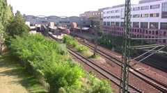 Railway track at Potsdam station in Germany Stock Footage