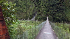 Suspension footbridge crossing the Pastaza River Stock Footage