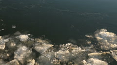 Floating Ice Chunks on River Jamming Stock Footage