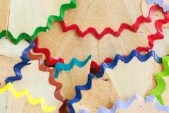 Color pencil shavings Stock Photos