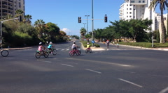 Israelis ride bycicles on Yom Kippur Stock Footage