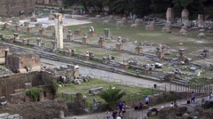 Tourist walking in roman forum - Foro romano Stock Footage