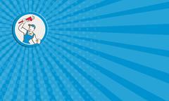 Business card plumber holding monkey wrench circle cartoon Stock Illustration