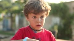 Little boy surprised Stock Footage