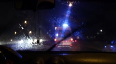 Ambulance Chasing at Night in Rain - stock footage
