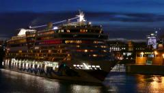 People watching large cruise ship departure from top deck Stock Footage