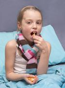 child is recovering from an illness - stock photo