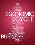 word cloud economic cycle - stock illustration