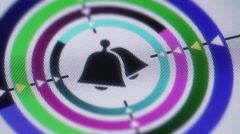 Bell icon on the screen. Looping. Stock Footage