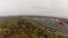 Empty Race ring before race. Aerial view. Stock Footage