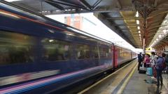 Fast Train Passing Through Station Stock Footage