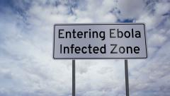 Sign Entering Ebola Infected Zone Timelapse Stock Footage