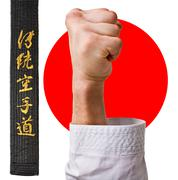 hand karate master on the background of the japanese flag character karate. - stock photo