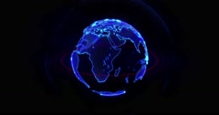 High Tech Rotating Globe Animation 4K DCI 4096 x 2160 - stock footage