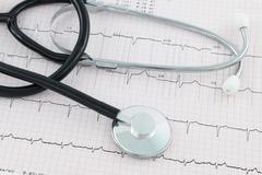 Stethoscope on cardiogram Stock Photos