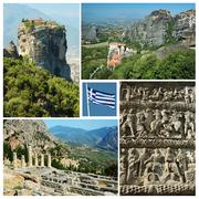 Collage of famous greek landmarks - ancient delphi town, meteora,thessalonike Stock Photos