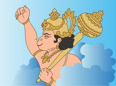 Hanuman the hindu ape (monkey) god Stock Illustration