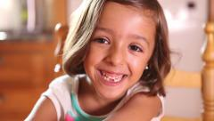 Little girl smile, happy, cheerful, portrait Stock Footage